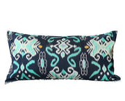 Bali Indigo Handwoven Ikat Lumbar Boho Pillow Cover - British Malaya Shop