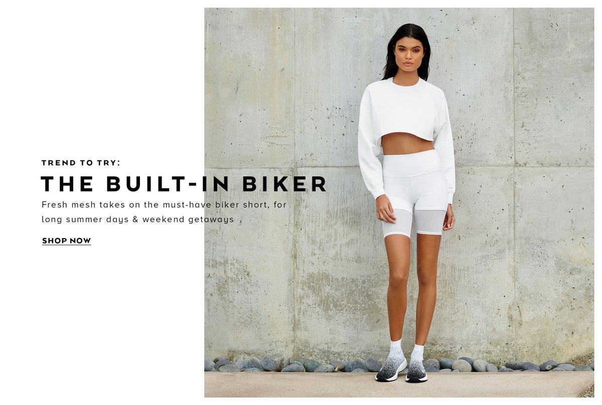 Trend to try: the built in biker. Fresh mesh takes on the must-have biker short for long summer days and weekend getaways