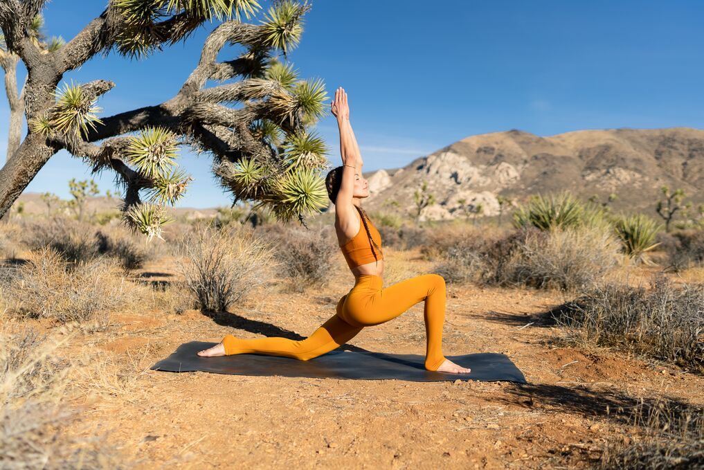 Tawny Janae completing a Warrior Flow series in Joshua Tree.