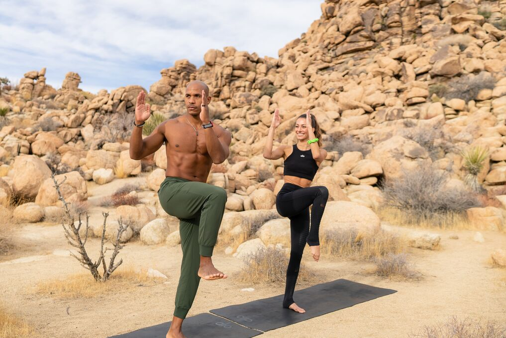 Tawny Janae and Kupah James performing a quick workout together in Joshua Tree.