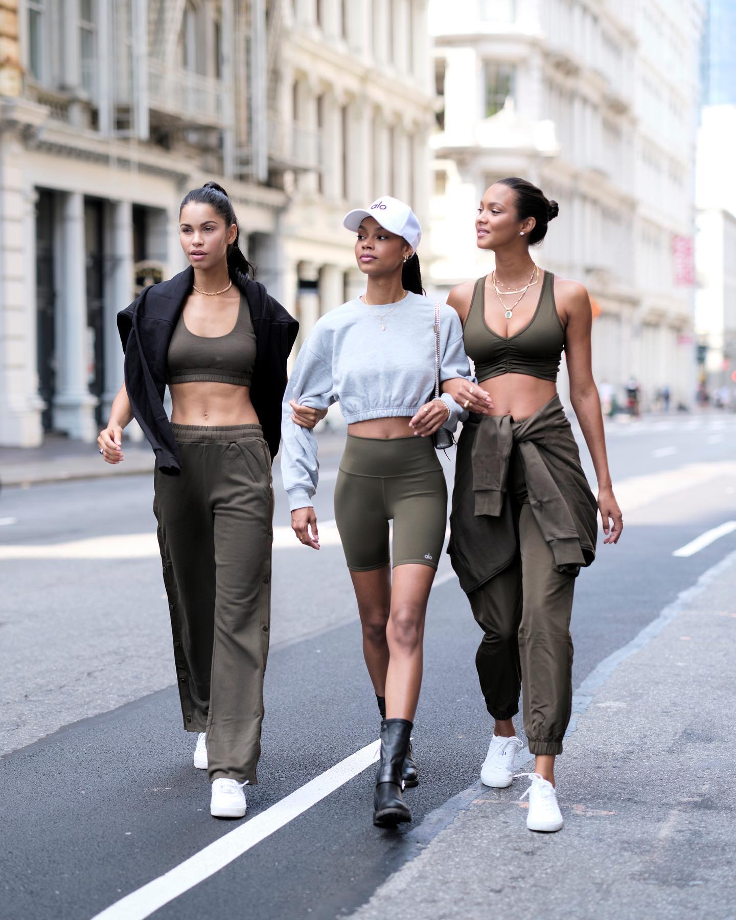 @daianesodre, @laisribeiro, and @taelorthein wear off-duty model looks while roaming the streets of New York during New York Fashion Week.