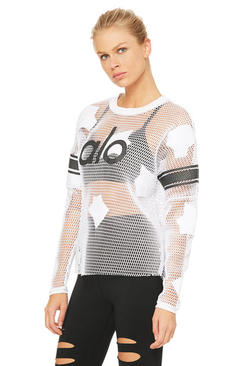 Yoga Jersey Long Sleeve Top - White/Alo Crackle/Black