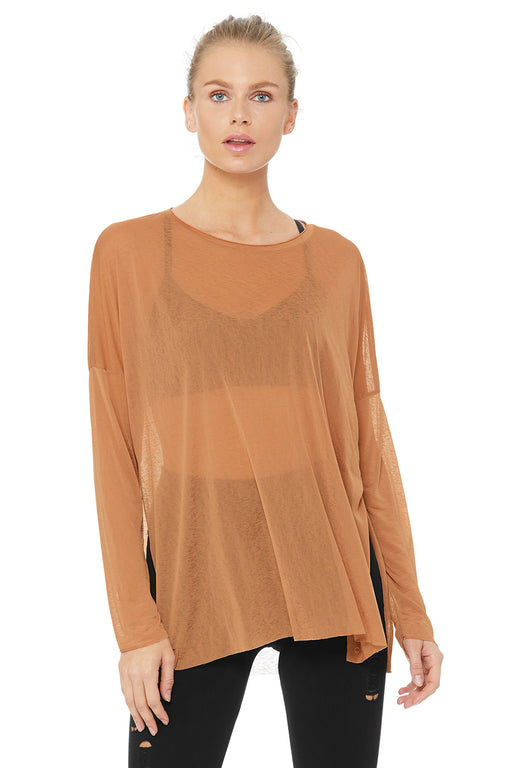 Arrow Oversized Long Sleeve Tee - Henna