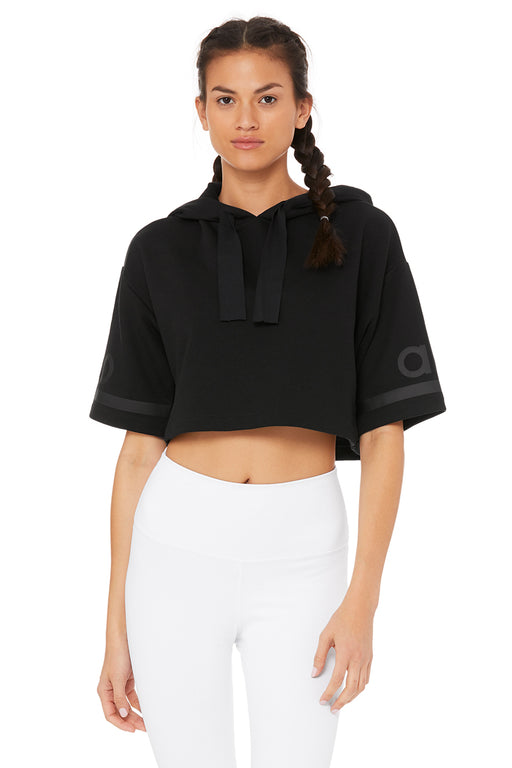 Alo Jersey Cropped Hoodie by Aloyoga