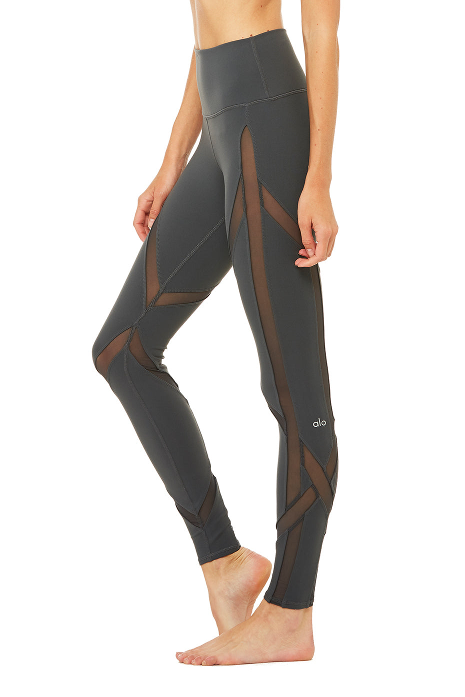 High-Waist Laced Legging - Anthracite