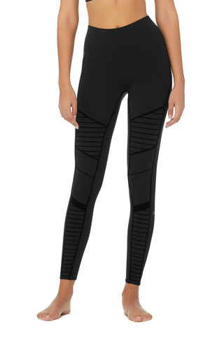 Flocked High-Waist Moto Legging