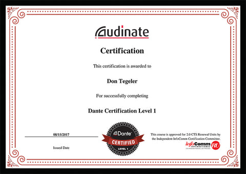 Tegeler Music Dante Certification