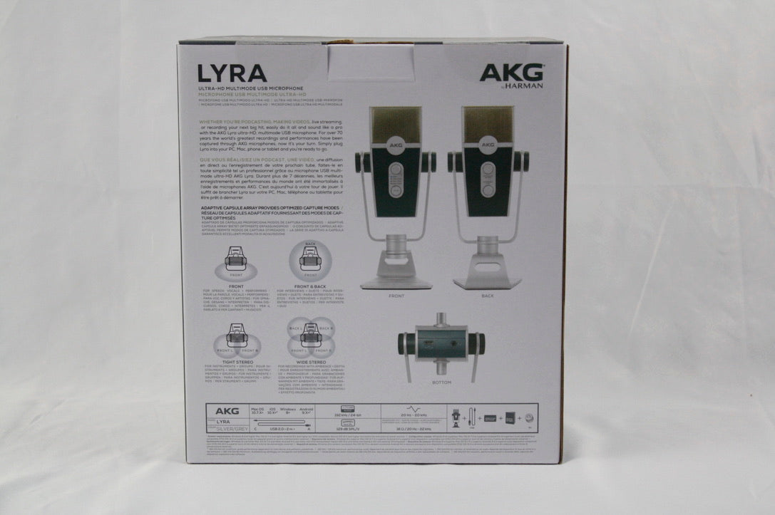 AKG Lyra C44 USB Studio/Podcast/Video/Gaming Microphone Ultra HD Audio by Harmon
