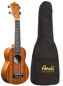 UK210S Amahi Uke Select Mahogany Top, Back & Sides, Soprano Ukulele with gig bag
