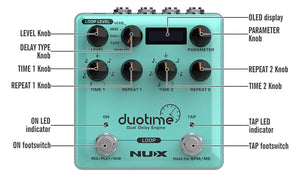 NUX NDD-6 Duotime Dual Delay Engine Stereo Delay Guitar Effects Pedal