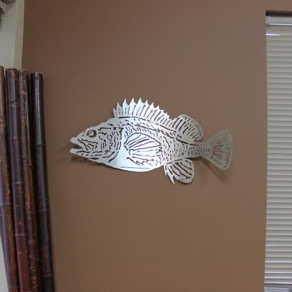Rock fish stainless steel metal wall art