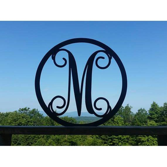 Metal Monogram Letter Circle Sign