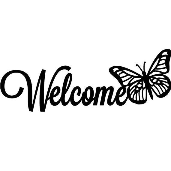 Welcome Sign with Butterfly-Cascade Manufacturing
