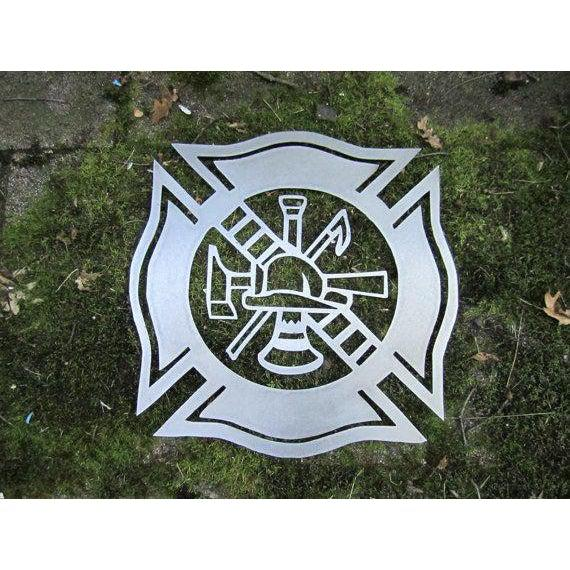 Fire Fighter Maltese Cross Metal Wall Art
