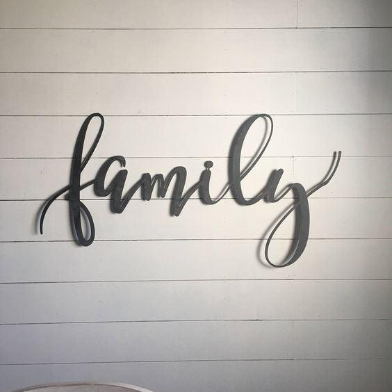 Family Metal Wall Art Word Sign