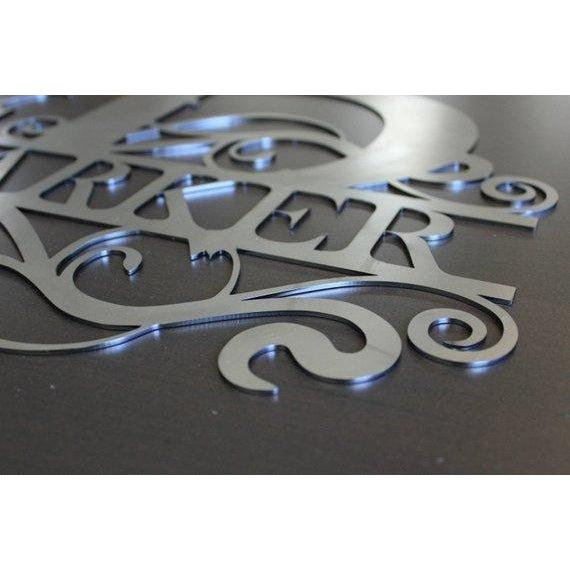 metal monogram family name sign cascade manufacturing