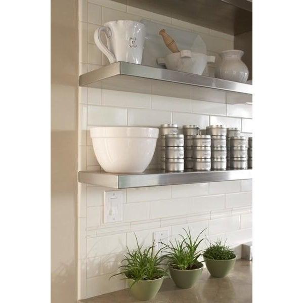 Stainless Steel Open Metal Shelving in Kitchen