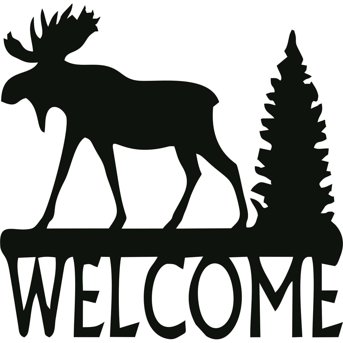 Welcome with Moose Metal Wall Art Sign-Cascade Manufacturing