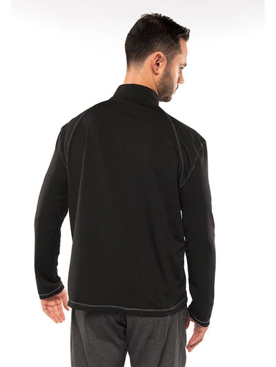 "back of Men's Alfredo Coat in ""Black"" color on a model"