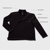 features of the Alfredo chefs coat including mandarin collar, heavy-duty zipper, front pocket, utility pocket and vents