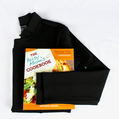 cookbook with black chefs coat