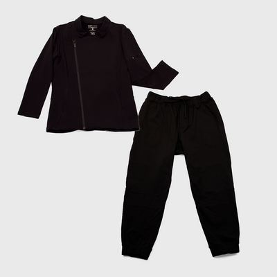 black colored womens chef coat and pants