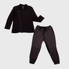 black colored womens chefs coat and charcoal colored pants
