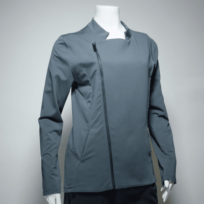 "Chef Antonia coat in ""carbon"" color on a mannequin"