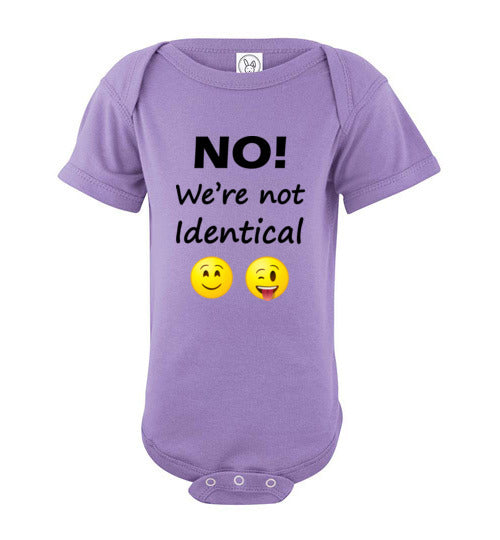 """No! We're not Identical"" Twin dark text short sleeve Onesie/Romper/Jumper"