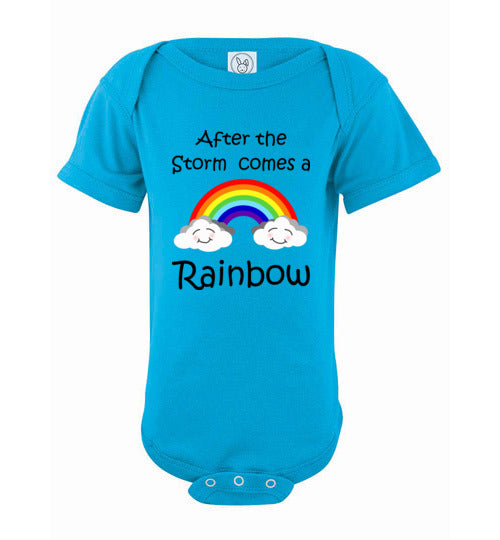 """After the Storm comes a Rainbow"" black text short sleeve Onesie/Romper/Jumper"
