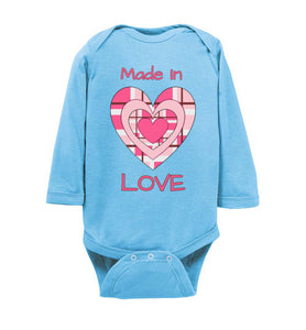 """Made in Love"" Long Sleeve Onesie/Romper/Jumper"