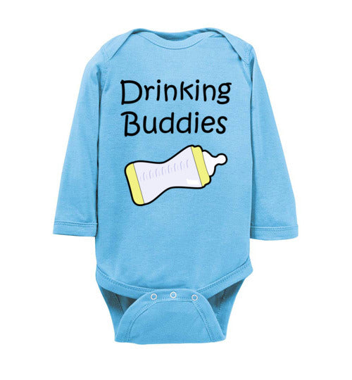 """Drinking Buddies"" black text long sleeve Onesie/Romper/Jumper"
