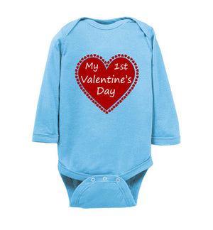 """My 1st Valentine's Day"" red heart Long Sleeve Onesie/Romper/Jumper"