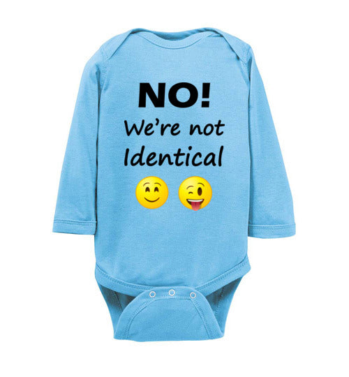 """No! We're not Identical"" Twin dark text long sleeve Onesie/Romper/Jumper"