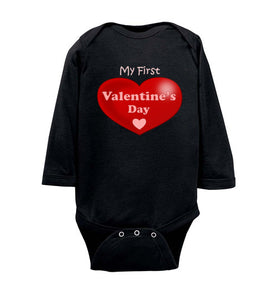 """My First Valentine's Day"" wide heart light text Long Sleeve Onesie/Romper/Jumper"