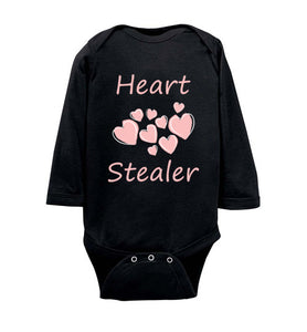 """Heart Stealer"" pink text Long Sleeve Onesie/Romper/Jumper"