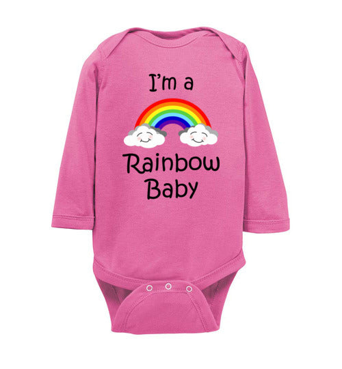"""I'm a Rainbow Baby"" black text long sleeve Onesie/Romper/Jumper"