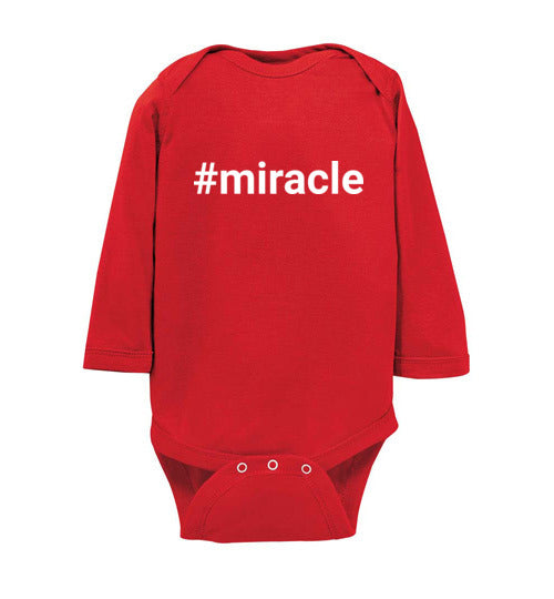 """#miracle"" white text long sleeve Onesie/Romper/Jumper"