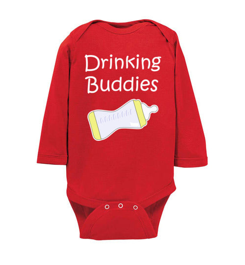 """Drinking Buddies"" white text long sleeve Onesie/Romper/Jumper"