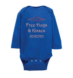 """Free Hugs and Kisses"" pink text Long Sleeve Onesie/Romper/Jumper"