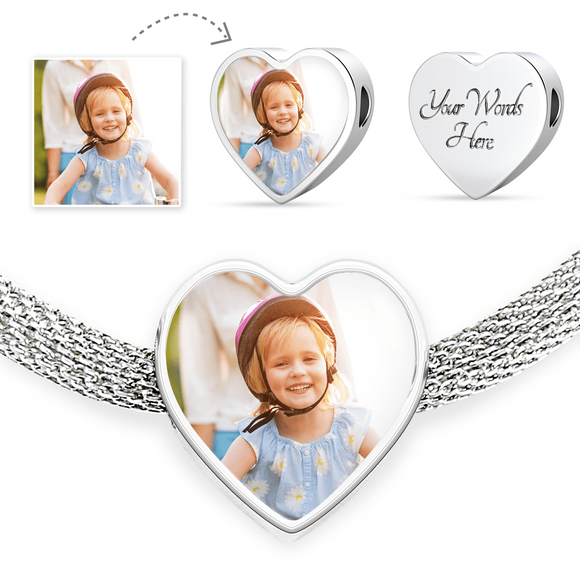 Personalized Custom Photo Heart Charm Stainless Steel Bracelet with Engraving Option