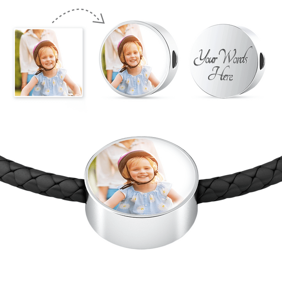 Personalized Custom Photo Steel Circle Charm Black Leather Bracelet with Engraving Option