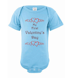 My First Valentine's Day scroll dark text Short Sleeve Onesie/Romper/Jumper