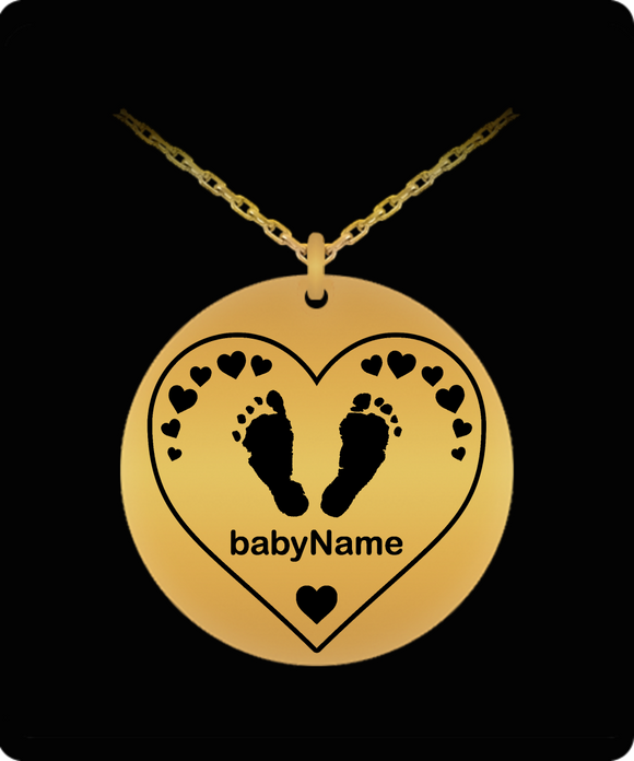 Personalized Baby Name Laser Engraved Pendant Necklaces - Gold or Silver, Heart or Teddy, Hand or Footprints