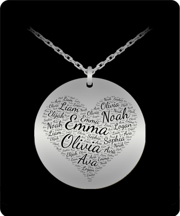 Multi-Name Personalized Laser Engraved Pendant Necklace - Round Pendant with Heart or Custom Shape