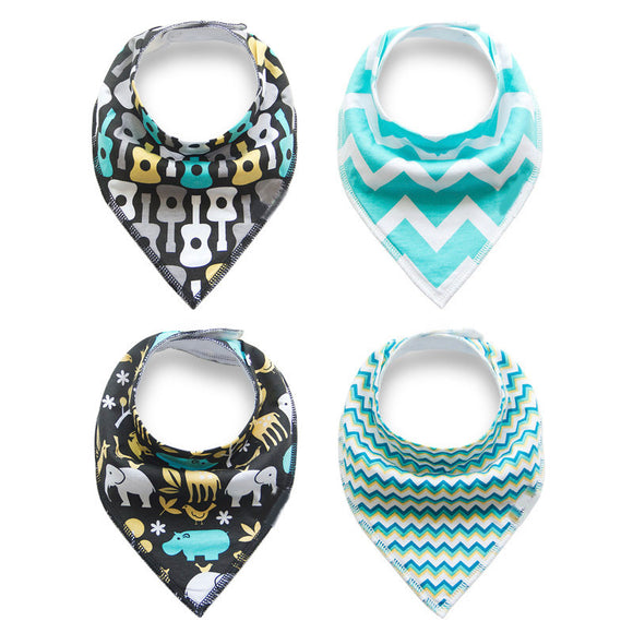 4 Pack of Cotton Baby Bandanna Bibs