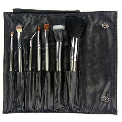 723 - 7 piece Gunmetal Travel Brush Set Crownbrush