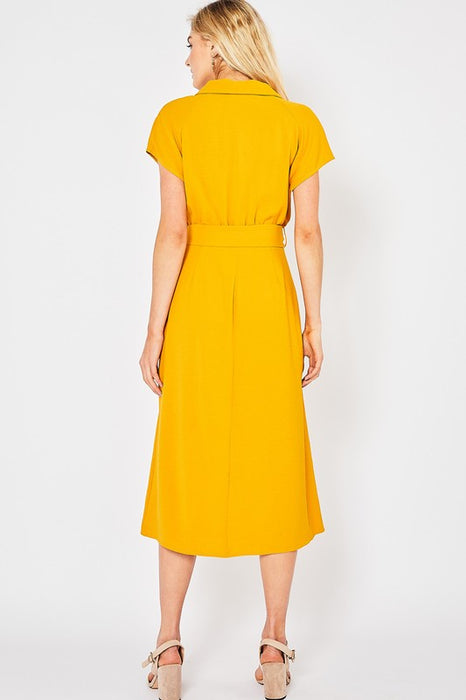 Tortoise Ring Belted Midi Dress