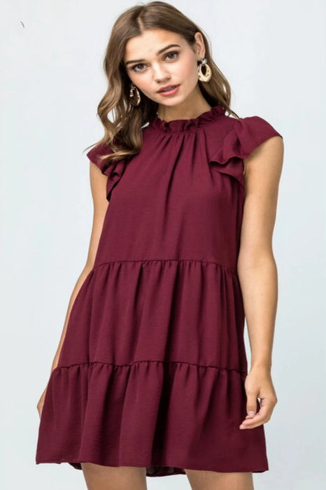 Flirt With Me Burgundy Dress(missing button)