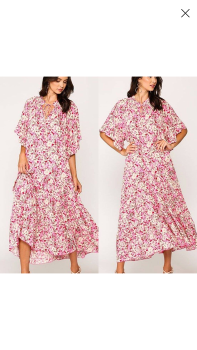 Floral Flowy Maxi Dress -Rose